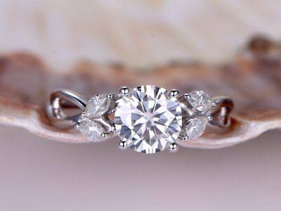 Floral Promise Engagement Ring 1ct Round Cut VVS1D Diamond 14k White Gold Finish ()