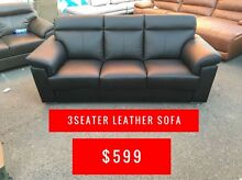 BLACK LEATHER 3 SEATER SOFA - NICK SCALI - FACTORY SECONDS OUTLET Granville Parramatta Area Preview