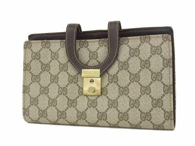 GUCCI GG pattern coated canvas vintage jewelry case clutch bag second beige