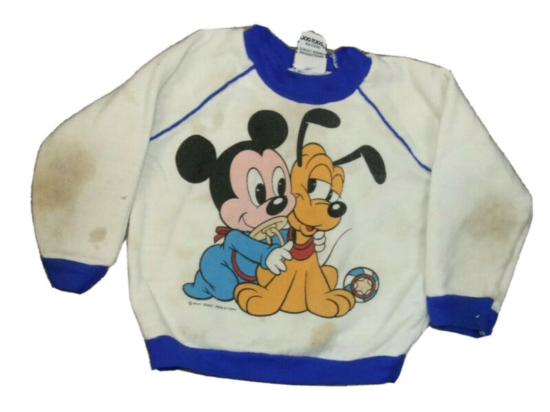 Vintage 80s Mickey Mouse Pluto Crewneck Sweatshirt Toddler Stained