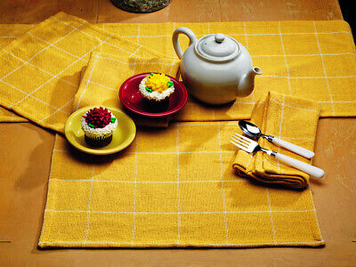 Soft Cotton Burlap Check Yellow Short Table Runner - Yellow Table Runner