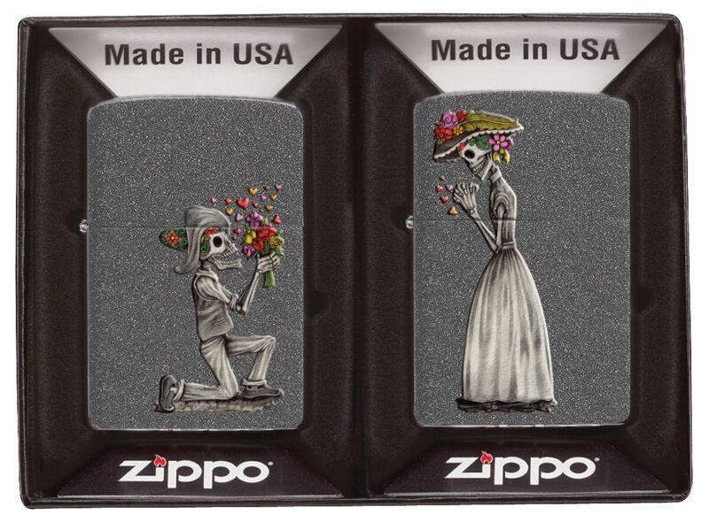 Zippo Iron Stone Skeleton Couple Lighter Gift Set , 28987