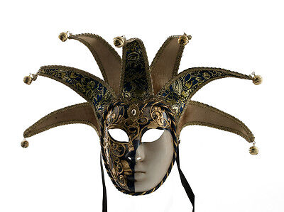 Mask from Venice Volto Jolly Blue and Golden 7 Spikes Musica 124 VG27