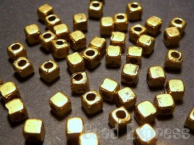 (30pc Tibetan Silver Gold Plated Mini Small Cube Metal Spacer Beads 2.5mm (T042))