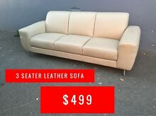 SOFA 3 SEATER - LEATHER - FACTORY SECONDS 50-80% OFF RRP Granville Parramatta Area Preview