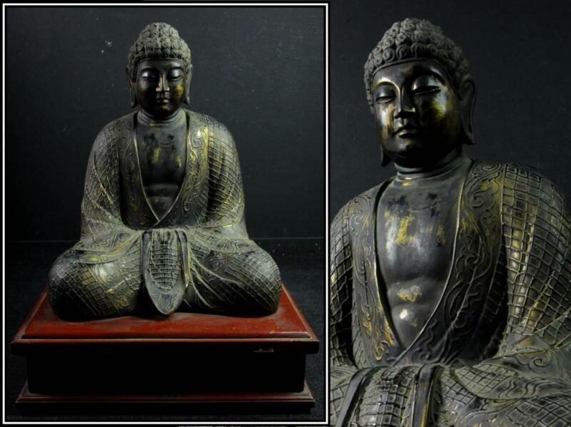 Japanese Old Edo Period Amitabha Buddha Statue 阿弥陀如来坐像 / Huge Size H 72[cm]