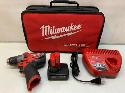 Milwaukee M12 Fuel 12 Hammer Drill W 3.0ah Battery Charger Model 2504-20
