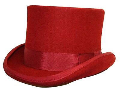 Top Hat Red Wool Felt Satin Lined Quality 4 Sizes Fast Post 1st Class