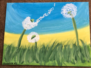 Painting of flower on grass.
