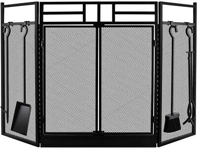 Fireplace Screen Large With Doors Black Metal Decorative Mes