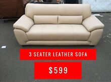 CREAM LEATHER 3 SEATER SOFA - FACTORY SECONDS OUTLET Granville Parramatta Area Preview