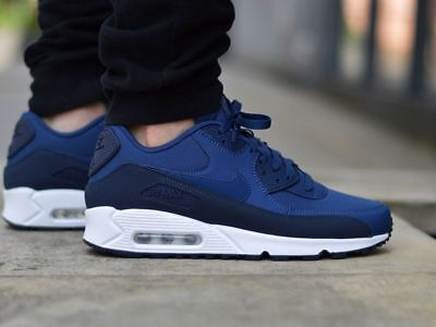 NIKE AIR MAX 90 ESSENTIAL 537384 427 OBSIDIAN/NAVY BLUE/WHITE - NUBUCK LTHR