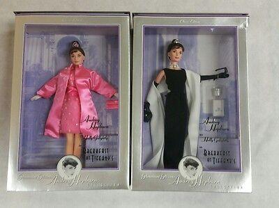 NRFB PAIR Audrey Hepburn Breakfast At Tiffany's Pink Princess & Black Evening