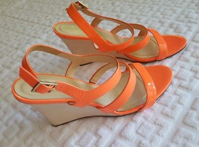 KATE SPADE Patent Leather Platform Wedge Ankle Strap Sandals Strappy Coral  9.5 Strappy Patent Platform Sandal