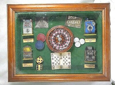 SLOT MACHINES ANTIQUE 20th CENTURY DECADES CASINO THEME WOODEN FRAMED SHADOW - Decade Themes