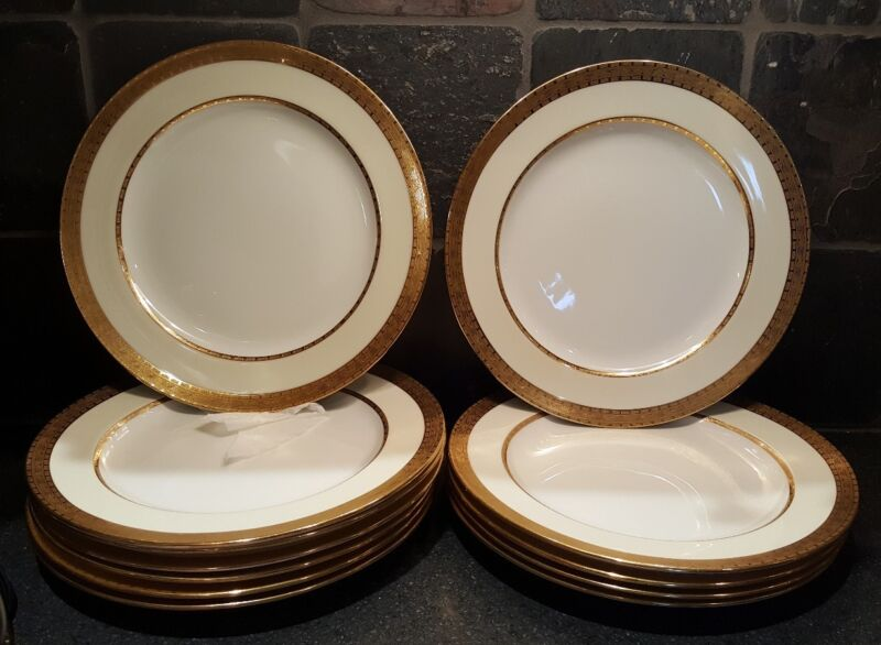 Twelve Mintons Tiffany and Company Dinner Plates Gold Border