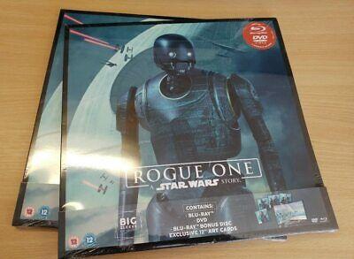 "Blu-Ray New Sealed * ROGUE ONE  A STAR WARS STORY + DVD + BONUS + 12"" ART CARDS"