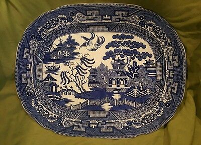 Antique England Allerton's Flow Blue Willow China Chinese Pagoda Turkey Platter Chinese Blue Willow