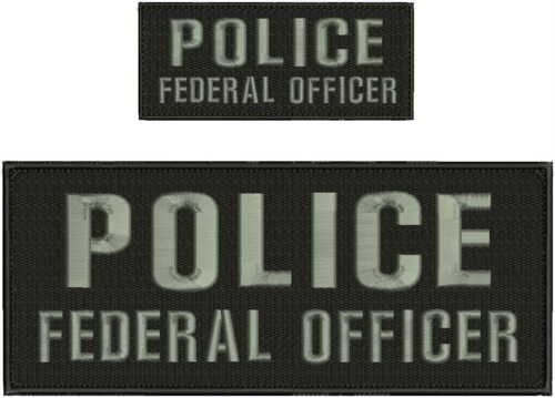 police federal officer embroidery patches 4x10 and 2x5 hook grey