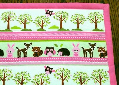 """NEW, HANDMADE, """"WOODLAND CRITTERS"""" GIRLS, 35x44in BABY/TODDLER  QUILT/COMFORTER"""