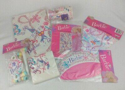 Mattel Barbie Princess Vintage 1990 7 Piece Birthday Party Supplies Set NEW RARE ()