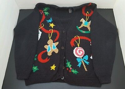 Ugly Christmas Sweater Black v-neck with Ribbon and Ornament theme size Women Sm](Ugly Sweater Theme)