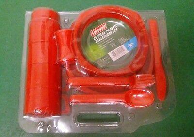 Coleman 25 Piece Plastic Red Tableware Set - Brand NEW in Package - Red Tableware