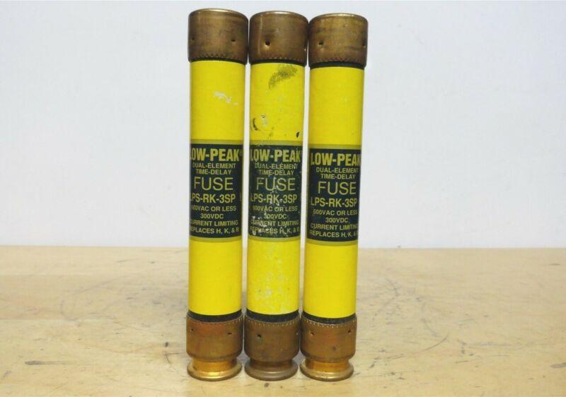 ( 3 ) - BUSSMANN - LPS-RK-3SP - 3A Low Peak Time Delay Fuse 600vac/300vdc - NEW