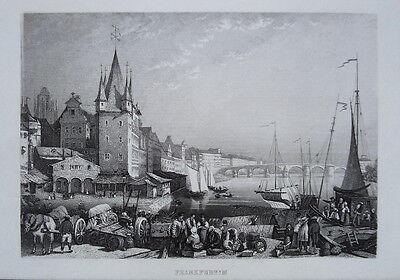 Frankfurt am Main  seltener echter alter Stahlstich 1844