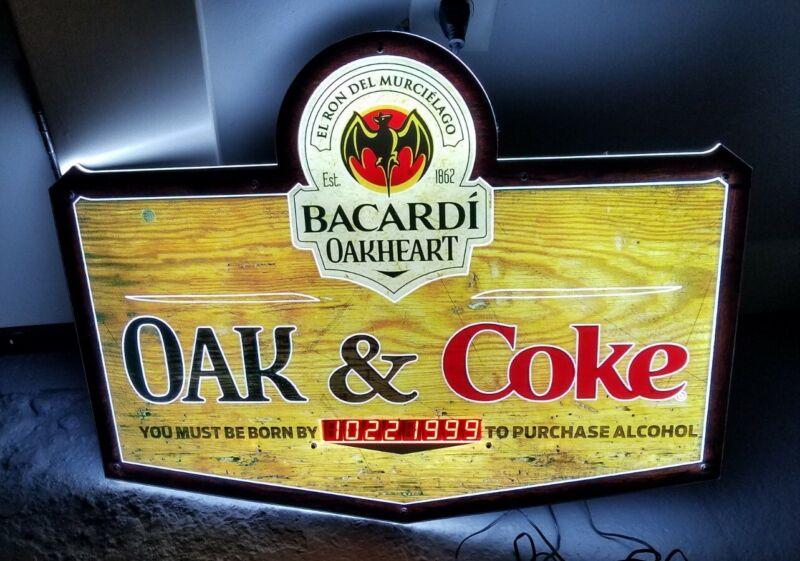 "Bacardi Bat Rum Oakheart ""must be born by"" Beer Digital LED Light Sign 24""x 19"""