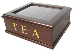 Brown Wooden 6 Compartment Tea Storage Box Tea