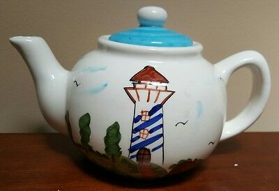 "Nautical Coastal Ceramic Teapot Lighthouse Sailboats 10"" x 6"" EUC"