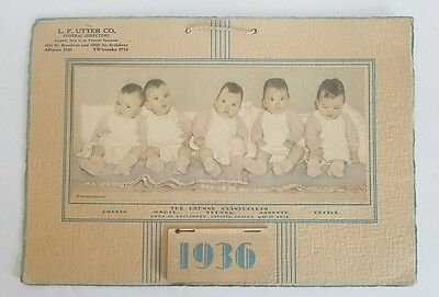 1936 The Dionne Quintuplets Calendar Funeral Advertising 11 x 8