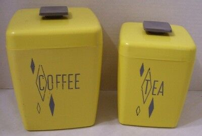 Vintage Coffee And Tea Canisters Yellow Mid Century Hard Plastic