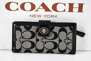 NWT COACH Park Signature Credit Card ID Turnlock Wallet F49536 BLACK WHITE/BLACK