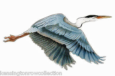 WALL ART - FLYING BLUE HERON METAL WALL SCULPTURE - SMALL - NAUTICAL DECOR