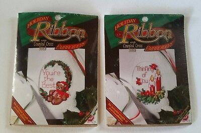 Holiday Ribbon Embroidery Counted Cross Stitch Kits BEST TEDDY 1802&CANDLES