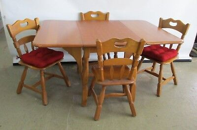 VINTAGE SOLID MAPLE DINING ROOM TABLE W/ 4 CHAIRS SOLID WOOD DROP LEAF TABLE & C