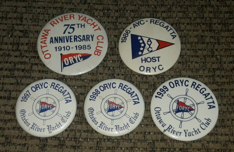 ORYC OTTAWA RIVER YACHT CLUB Boat TOLEDO OHIO 5 pin lot Regatta pinback buttons