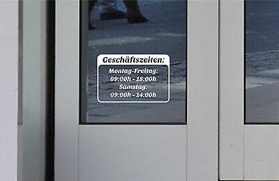 Öffnungszeiten Schild Aufkleber Tür Schaufenster Laden Geschäftszeiten 15x10cm