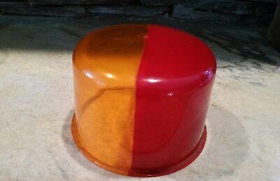 Rare Vtg Ls344 Amber Red Split Beacon Dome Lens Emergency Light