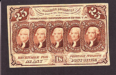 US 25c Fractional Currency w/o ABC 1st Issue FR 1282 XF (-013)