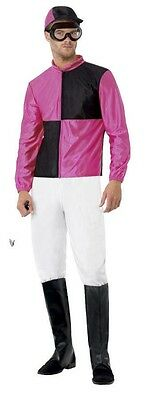 Herren Rosa Jockey Uniform Sport Junggesellenabschied Kostüm Kleid Outfit M-L