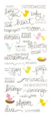 Baby Shower Pregnant Ultrasound Phrase Word Scrapbook Stickers