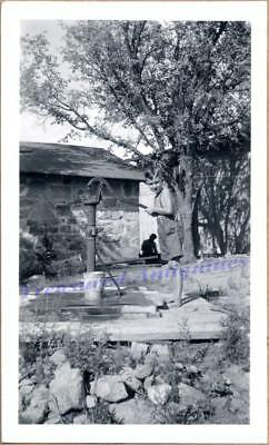 1930s Young Country Farm Shirtless Boy Water Well Hand Pump Filling Pail Photo