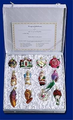 12 PIECE BRIDE'S TREE COLLECTION OLD WORLD CHRISTMAS GLASS ORNAMENTS SET 14010