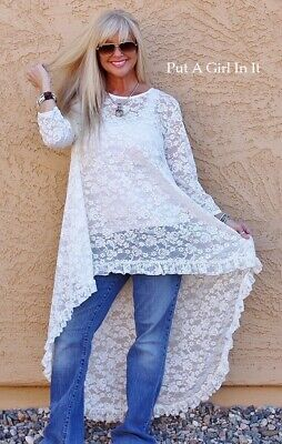 NEW PLUS SIZE OFF WHITE FLORAL LACE RUFFLE HIGH HI LOW TUNIC SHIRT 1X 2X 3X -