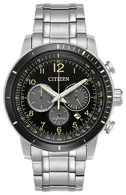 Citizen Eco-Drive Men's Brycen Chronograph Yellow Accents 44mm Watch CA4358-58E
