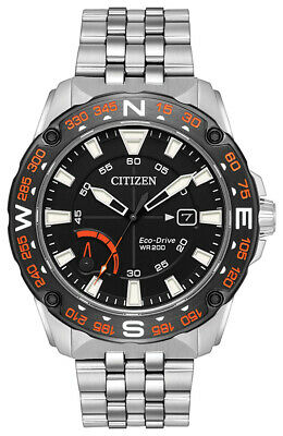 Citizen Eco-Drive PRT Men's Silver-Tone Date Indicator 44mm Watch AW7048-51E