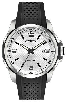 Citizen Eco-Drive Men's AR Silver Tone Dial Black Strap 45mm Watch AW1150-07A